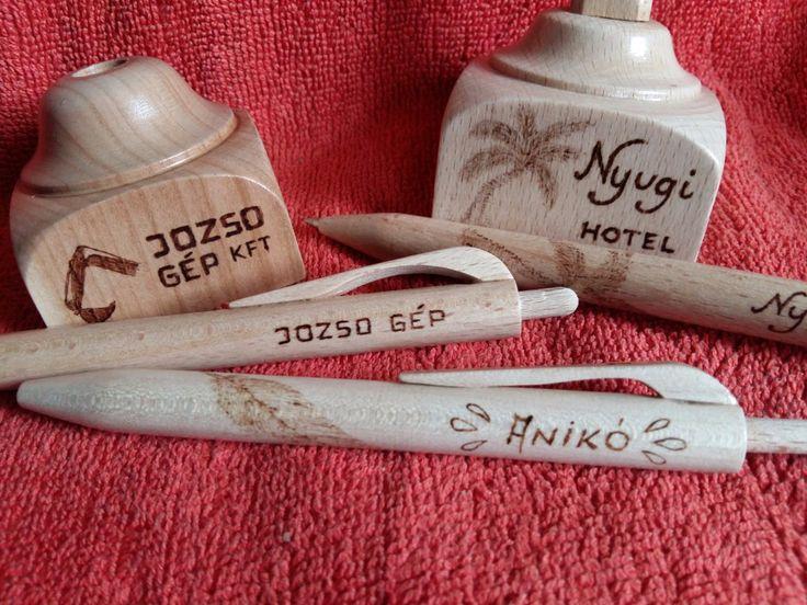 Egyedi, gravírozott fa írószerek - Fa toll - Fa tolltartó - Fa óra
