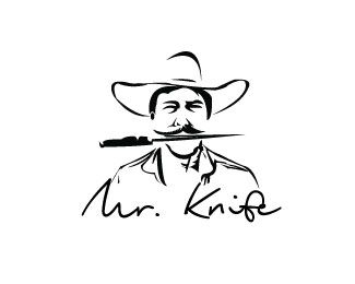 Mr. Knife Logo design - Mr. Knife is nice mascot for general logo design like as: icon design, suitable for web, press agency, blog, clothes store<br />or for those who want a nice, elegant and intellectual mascot! Price $299.00