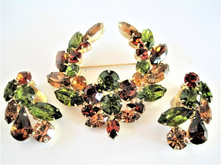 Excited to share the latest addition to my #etsy shop: TARA Brooch Set,  Vintage Rhinestone Jewelry,Peridot Citrine