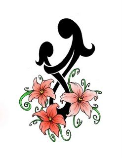 Mother daughter tattoo idea. Different flowers and with initials of my peewee..