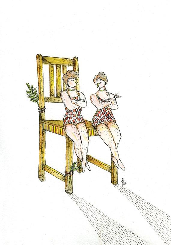 Original Drawing - 'Melody for Eleanor & Esme'. $80.00, via Etsy.