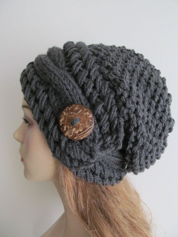 Slouchy Beanie Slouch Cable Hats Oversized Baggy Beret Button womens fall winter accessory Charcoal Grey Super Chunky Hand Made Knit $59.99