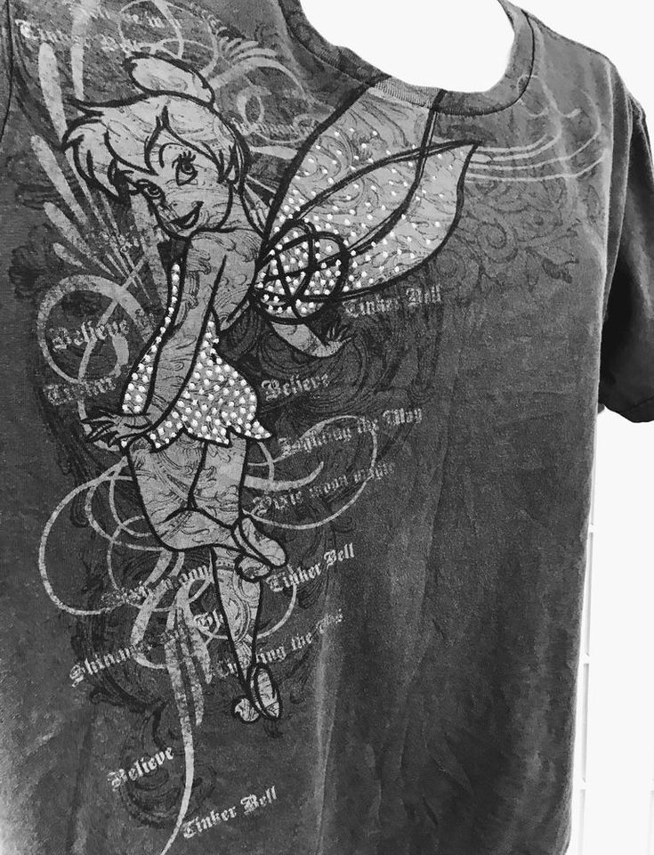 Disney Store Tinkerbell T Shirt Size XXL Organic Cotton Glitter Wings Gray #DisneyStore #GraphicTee