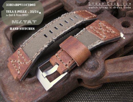 Белл & Росс br01 Тип MiLTAT ручной стежок на зеленый холст ремешок