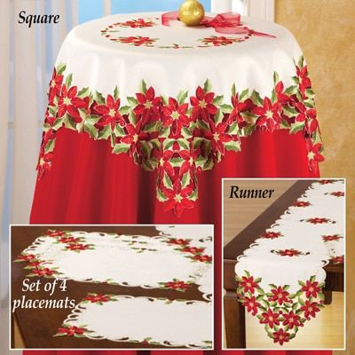Christmas Poinsettia and Holly Table Linens from Collections Etc.