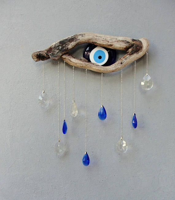 Driftwood Evil Eye Wall Hanging Beach Home Decor Etsy Wall Hanging Etsy Finds Etsy