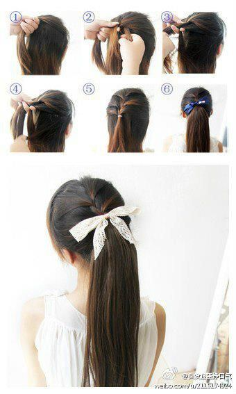 Easy hair-do just a half braided ponytail (or you can leave the bottom hair down) and add the ribbon