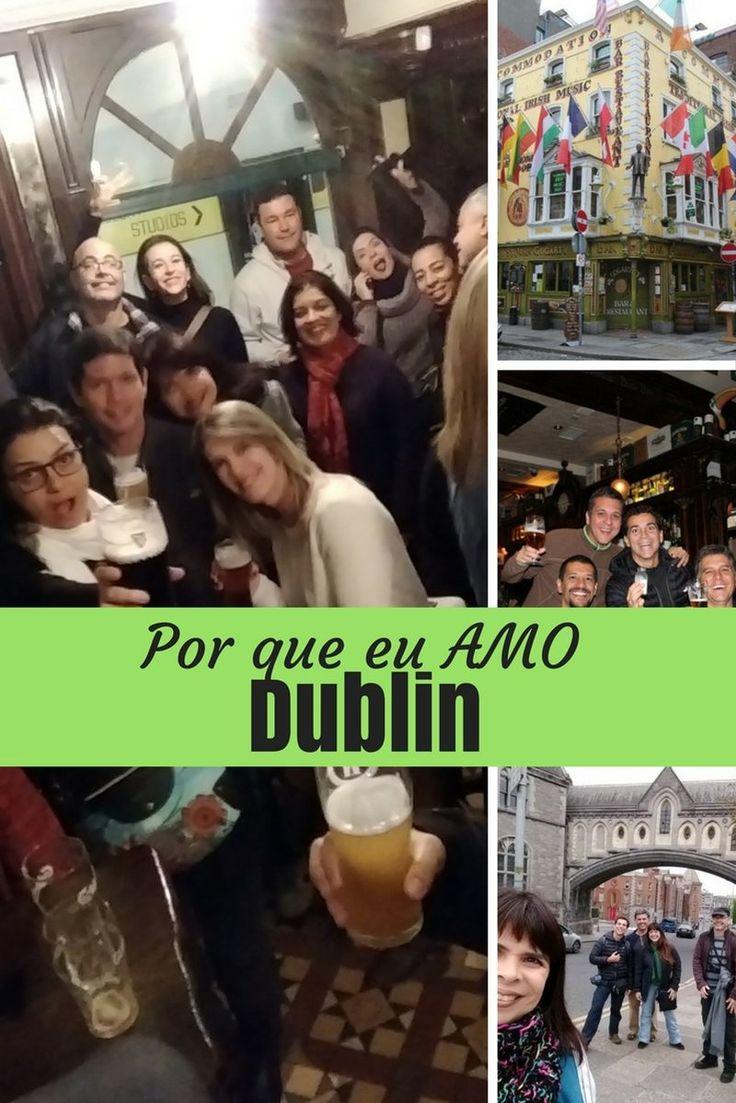 Por que eu amo Dublin? Dublin é a cidade mais animada que eu já conheci. Cerveja boa e música ao vivo, com rock e música celta, em todos os pubs.