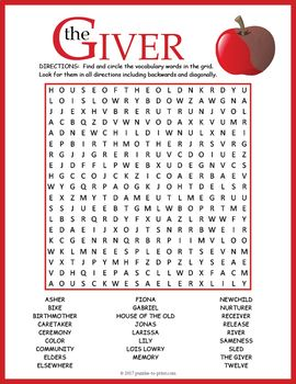 Your students will enjoy looking for all of the vocabulary words from the science fiction novel The Giver by Lois Lowry hidden in this puzzle worksheet. The words are hidden in all directions making this a challenging word search. A great activity for