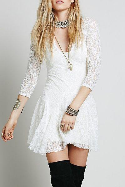 Charming V Neck Mini Lace Dress - OASAP.com
