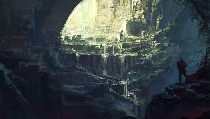 http://baptisteminy.cgsociety.org/art/photoshop-cave-temple-design-2d-1228707