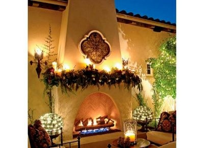 Spanish style outdoor fireplace