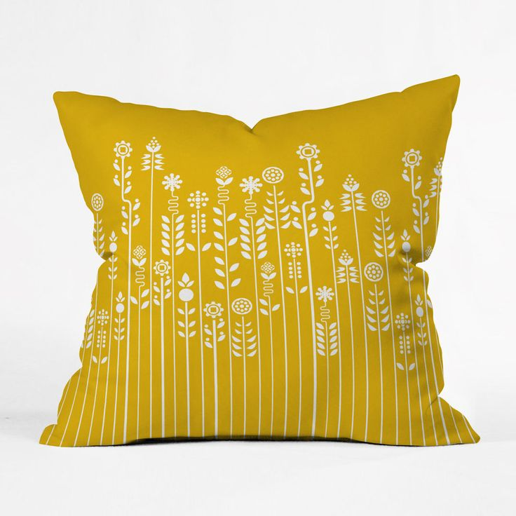 Pop Garden Pillow Cover | Let a little spring pop up on your chair with the sweet flowers running across the front of this happy yellow pillow cover.