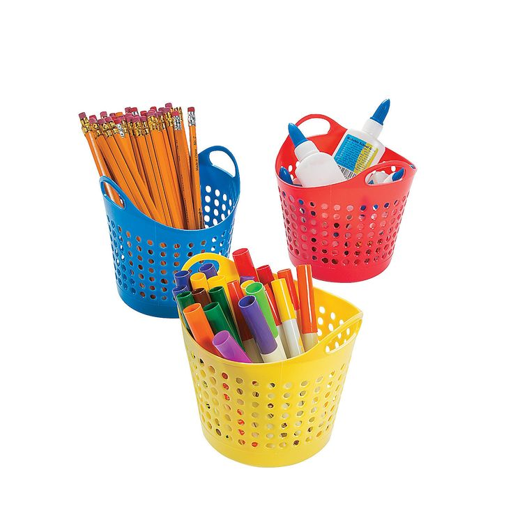 Round Classroom Storage Baskets - OrientalTrading.com Great for $1 each!