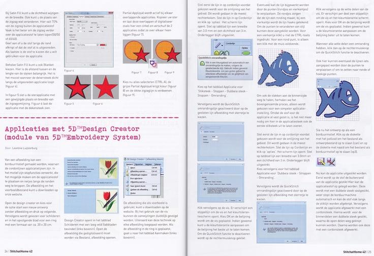Technische beschrijving voor de 5D borduursoftware. Project voor Stitch At Home - Nr. 42 Zomer 2013.   Applicaties maken met de software. #SatH #delenisleuk #5D #digitaliseren.