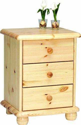 Mesilla de noche accesorios para el hogar - http://tienda.casuarios.com/steens-20220319-max-mesilla-de-noche-de-madera-de-pino-barnizada-61-x-46-x-40-cm/