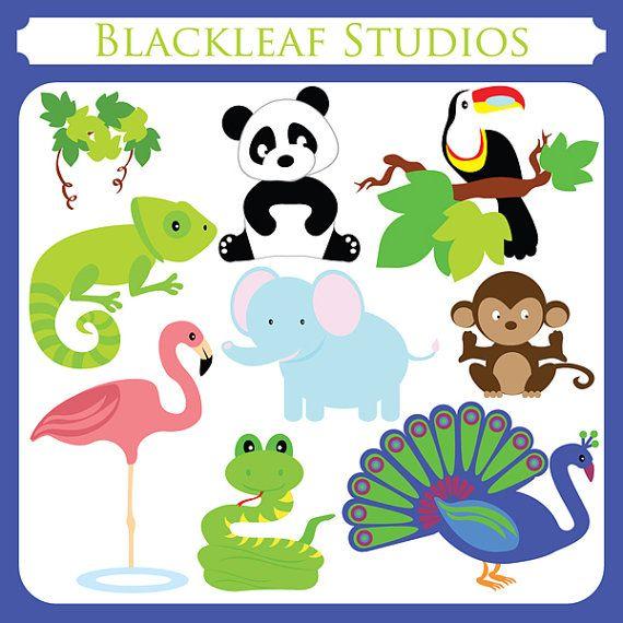 Tropical Animals - elephant, monkey, hornbill, peacock, snake, panda, chameleon, flamingo - Personal and Commercial Use
