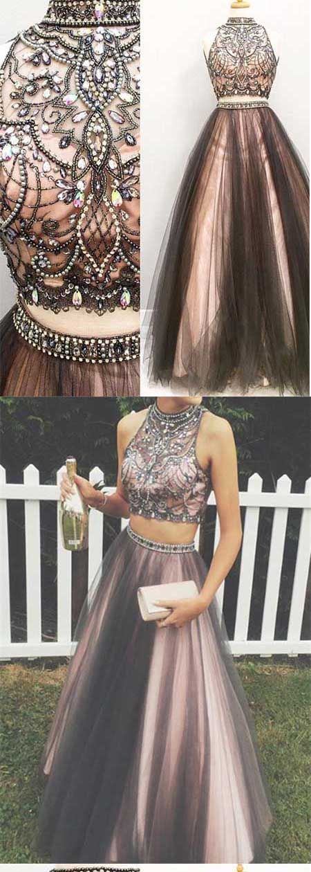 Lovely Two Pieces Colorful Beading A-line Long Handmade Prom Dresses