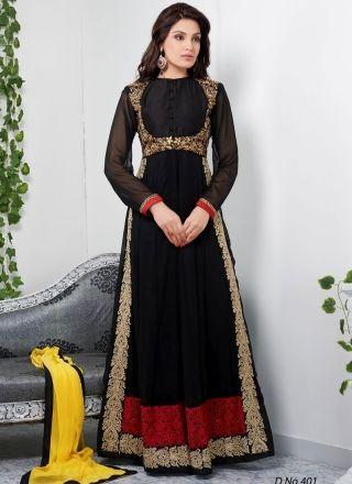 Captivating Black Embroidery Work Long Churidar Suit http://www.angelnx.com/Salwar-Kameez