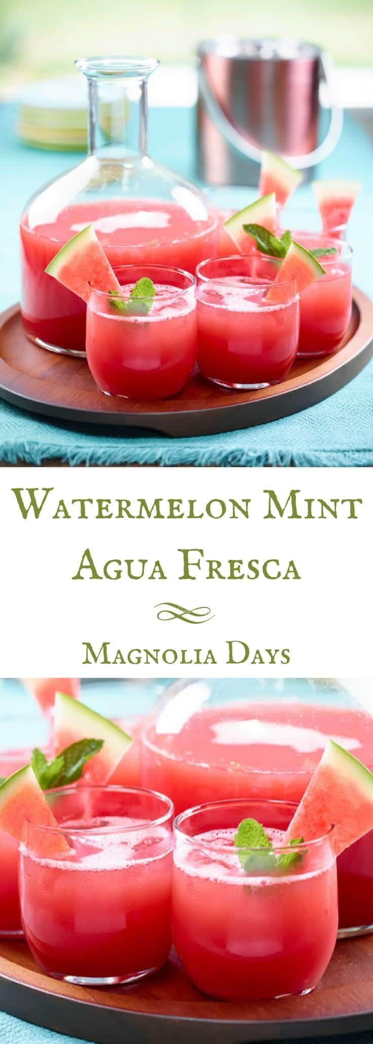 Refreshing Watermelon Mint Agua Fresca is the perfect spring or summer beverage.  It's made with just a few simple ingredients, and can be served nonalcoholic or made into a cocktail. via @magnolia_days