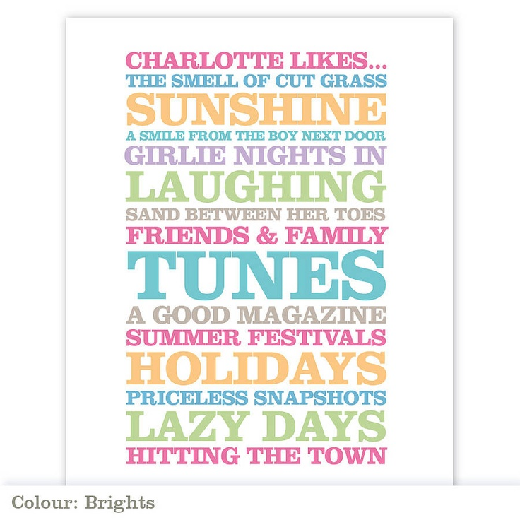 personalised 'likes' poster print by rosie robins | notonthehighstreet.com