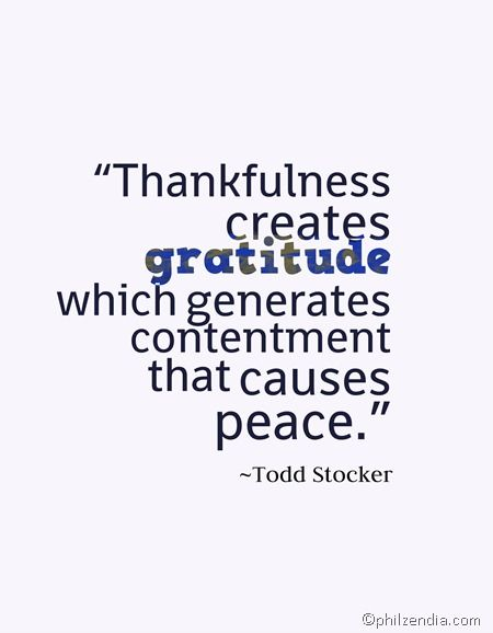 Thankfulness creates gratitude
