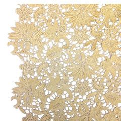 Gold Bell Flower Guipure French Venice Lace