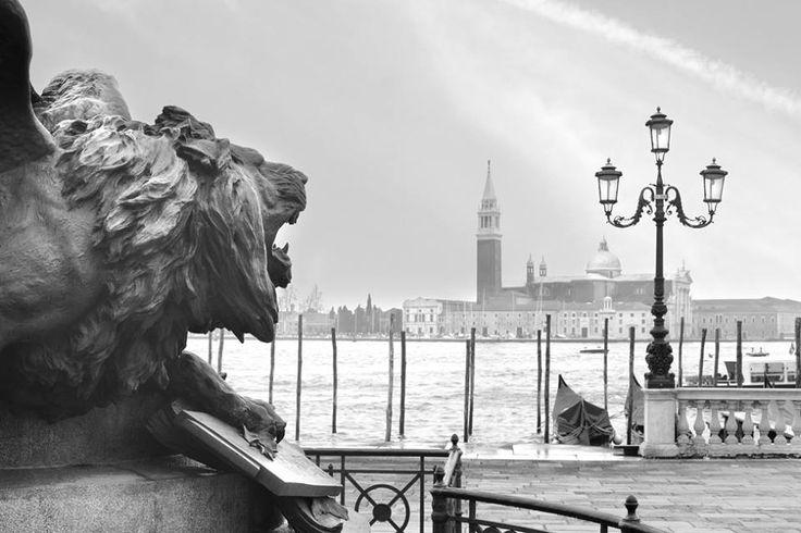 Lion Head and view of the Church of San Giorgio Maggiore (Basilica di San Giorgio Maggiore) designed by Andrea Palladio. Venice.  Unlimited edition. Printed on Fine Art Paper 50 x 70 (Paper size)  Signed by Fabio Bressanello