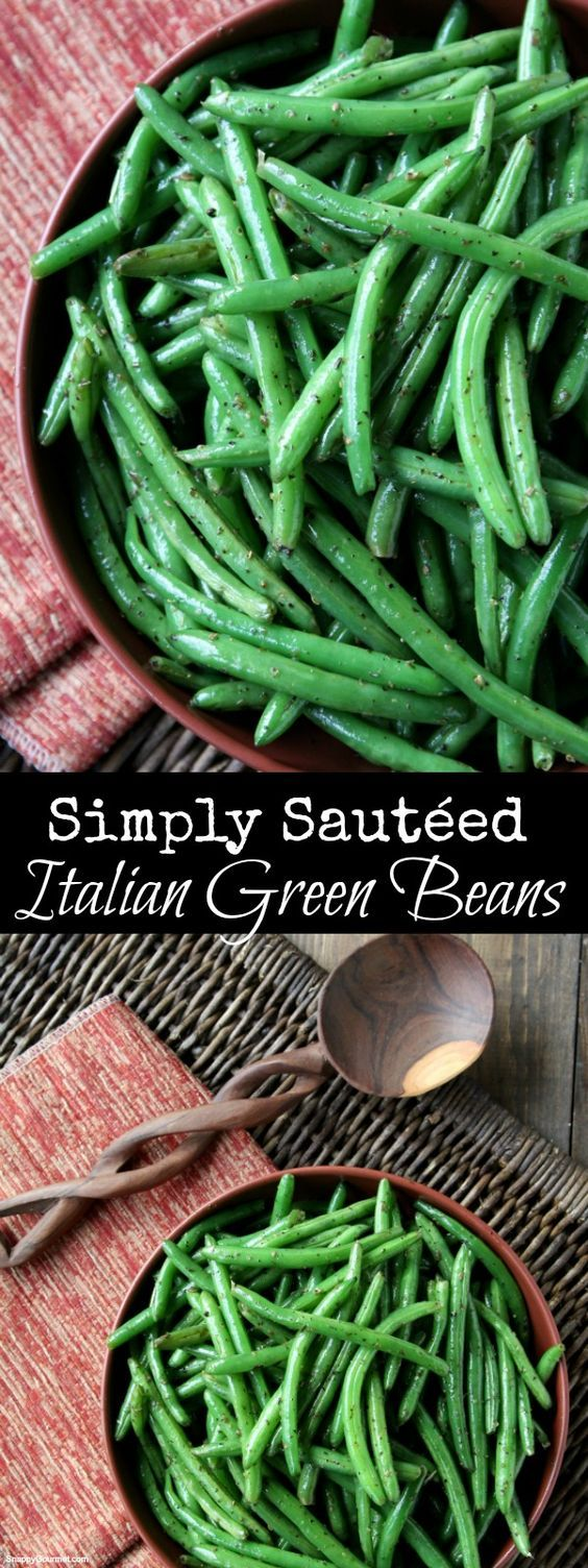 Simply Sautéed Italian Green Beans, quick and easy homemade vegetable side dish recipe! SnappyGourmet.com