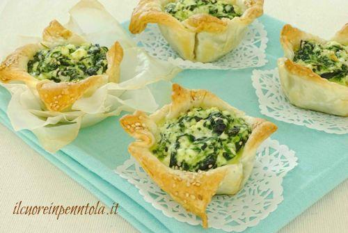 Cestini di sfoglia ricotta e spinaci - Ricette di cucina Il Cuore in Pentola