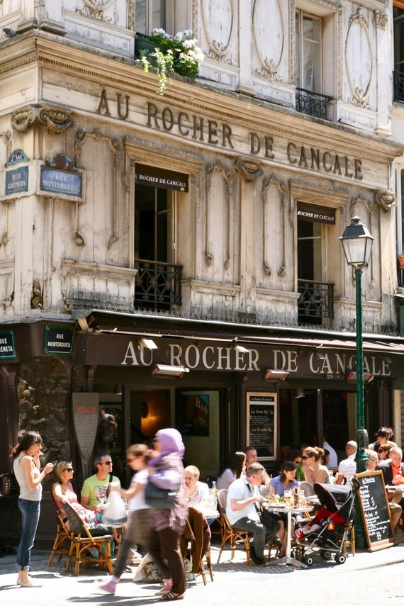 Au Rocher de Cancale; I love the traditional pre-war building contrasted with the blur of the hubbub of Paris.