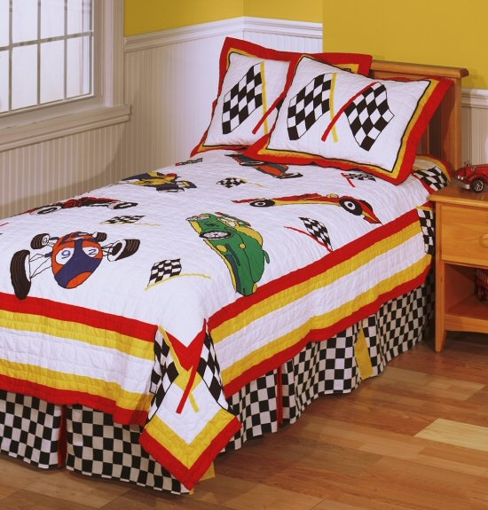 race cars reversible boys bedding 2pc twin size bedspread quilt set racing flags