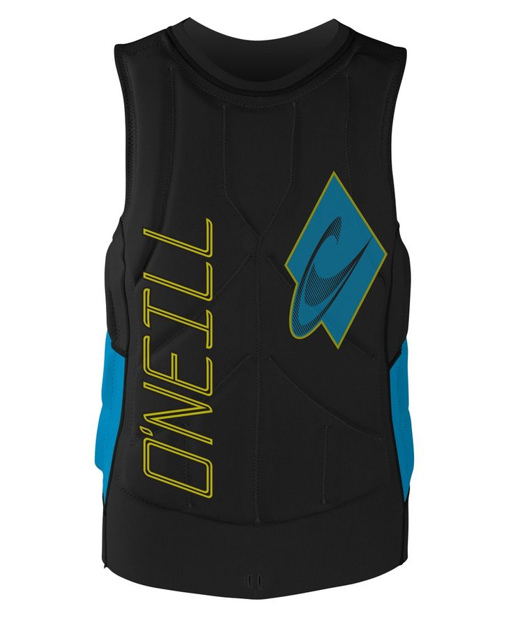 O'Neill Wetsuits Wake Waterski Mens Gooru Tech Competition Life Vest, Black/Sky, X-Large