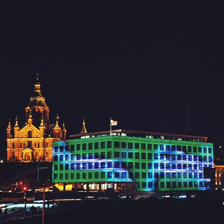 Our head office in Helsinki was part of the light festival luxhelsinki and lit up so beautifully at night.