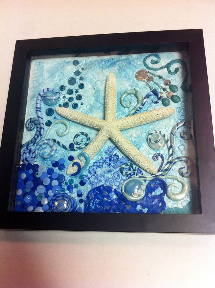 Handmade Polymer clay art in shadow box under water theme. Embellished with micro beads, Pearl Ex among other things. Made by Kelsi McGinty