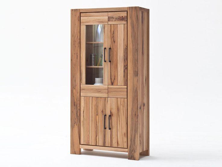 Szeroka witryna z drewna dębowego Solid