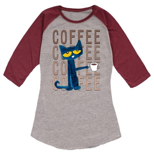 Pete The Cat Pete With Coffee Ladies Raglan