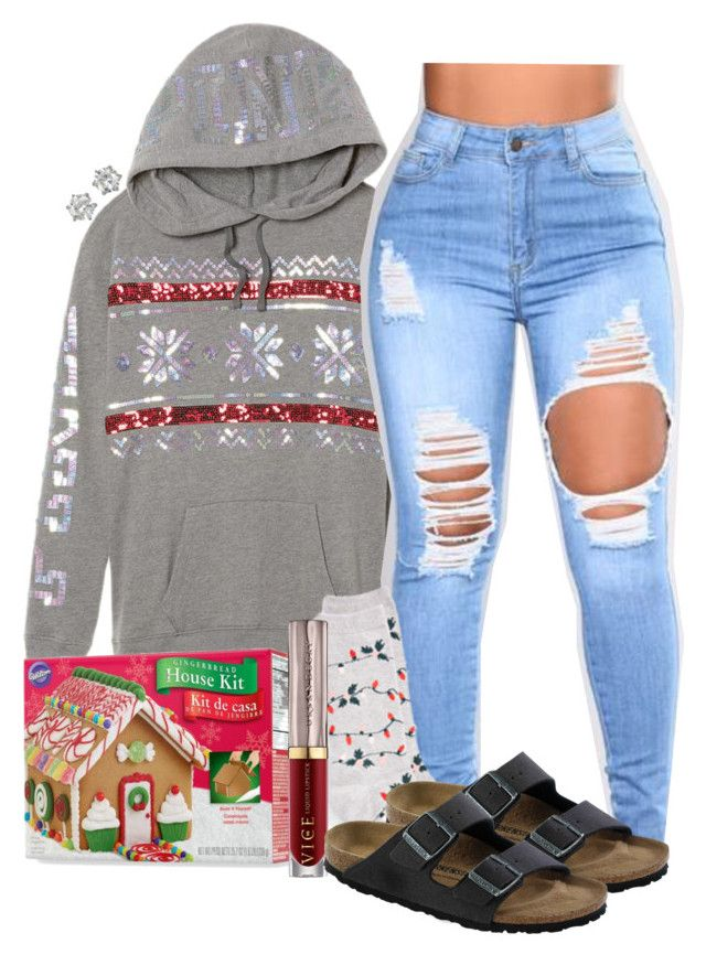 """""""Making Gingerbread Houses W/ the Gals"""" by xomadibbyyy ❤ liked on Polyvore featuring Victoria's Secret, Wilton, New York & Company, Urban Decay, Birkenstock, Juicy Couture and gabschristmascontest17"""
