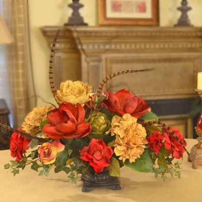 203 best images about silk flower arrangements on for Floral centerpieces for dining tables
