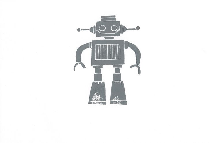 Robot lino print by lynn costello erskine on artclick.ie