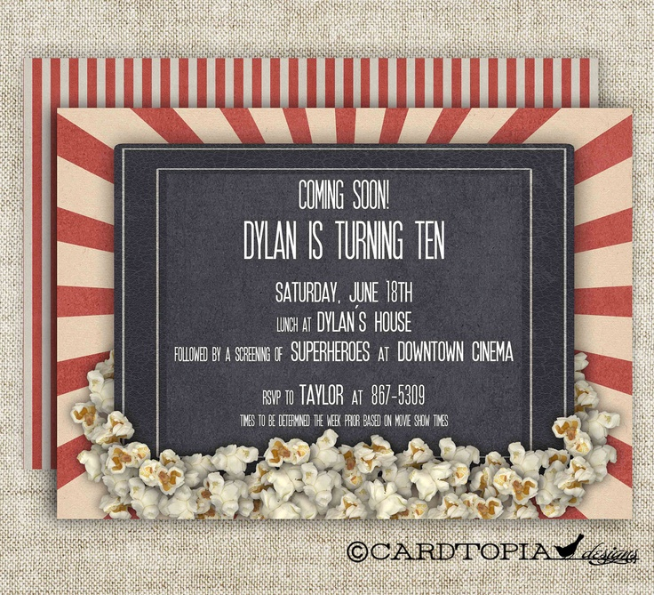 handmadest birthday party invitations%0A Movie Theater BIRTHDAY PARTY Invitations Girl by CardtopiaDesigns