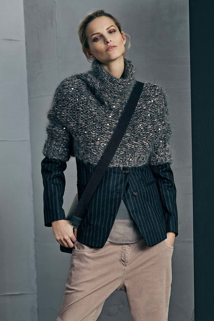 MFW   Brunello Cucinelli Fall 2017   proportion of sweater over jacket