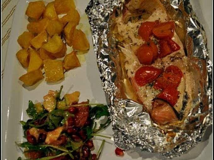 Ricetta Portata principale : Cartoccio di pesce spada con insalata esotica e patate al forno da Crysania83
