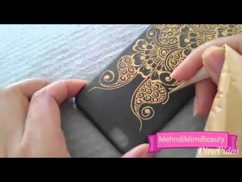 Diy Henna phone case - Using acrylic permanent paint. Can also use based wax paint
