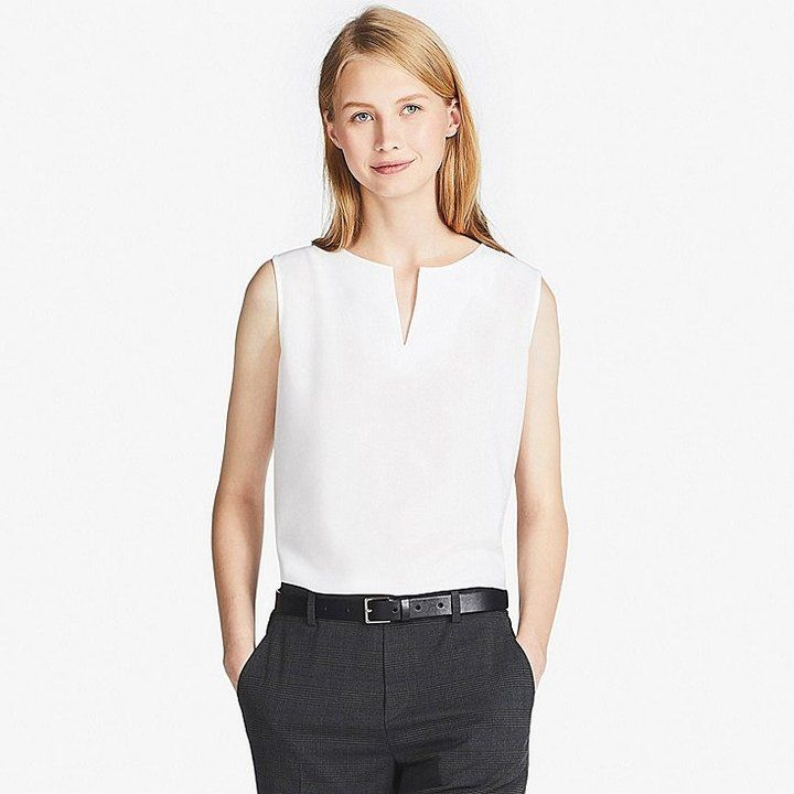 Uniqlo Women's Rayon Key-neck Sleeveless Blouse