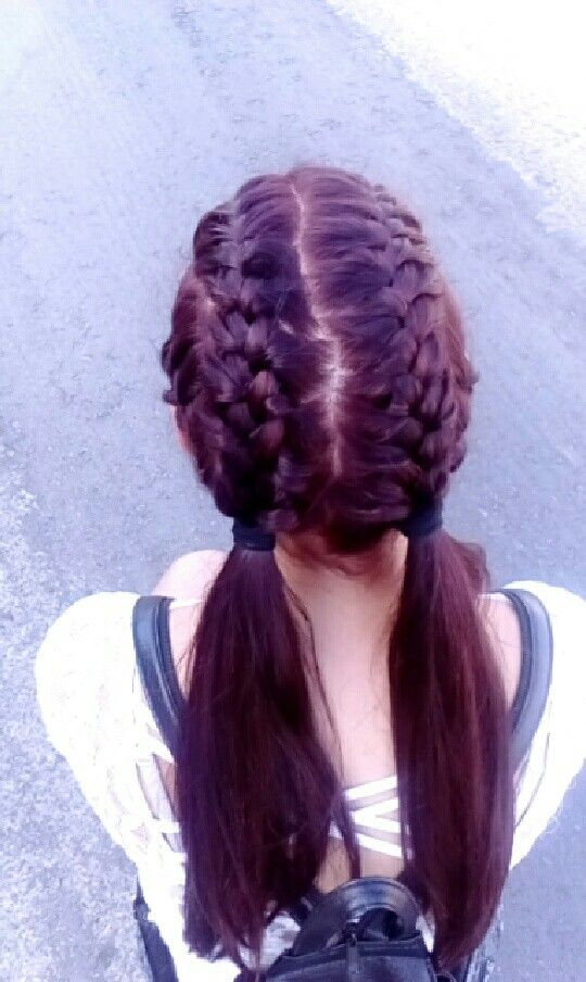 #hair #hairstyle #red #cute #braids