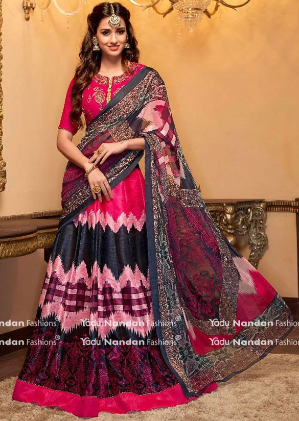 Disha Patani Black, Rose Pink and Magenta Lehenga Choli