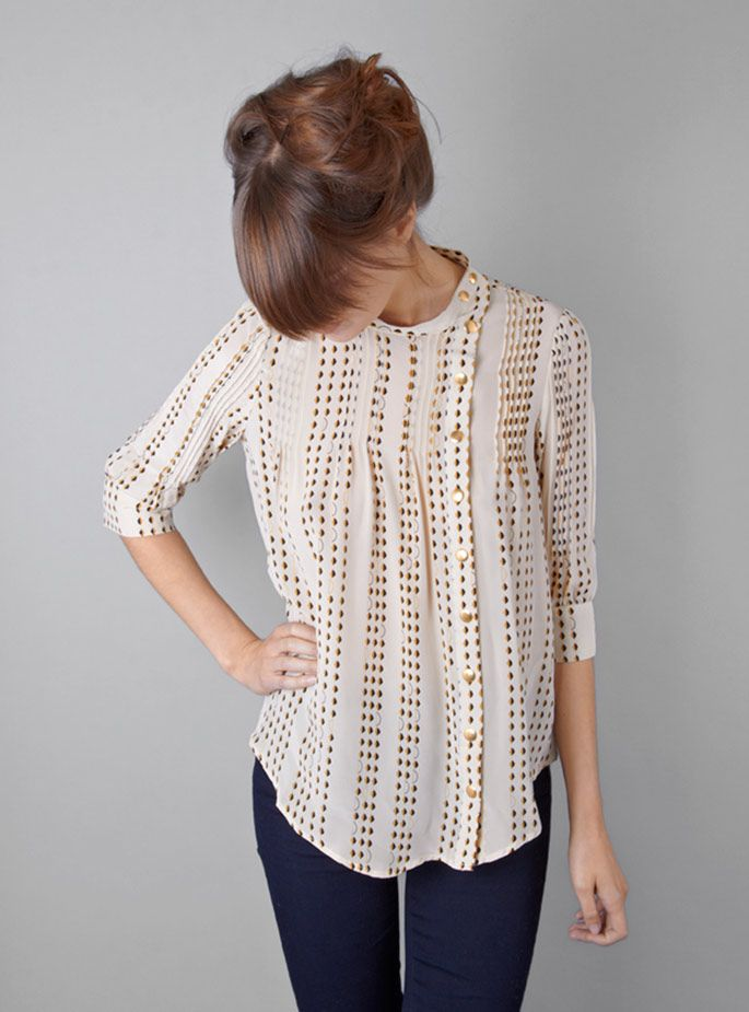 Lauren Moffatt - Sally pintuck blouse: Colors Combos, Polka Dots, Hair Colors, Lauren Moffatt, Sally Pintuck, Pintuck Blouses, Gold Sequins, So Pretty, Gold Dots