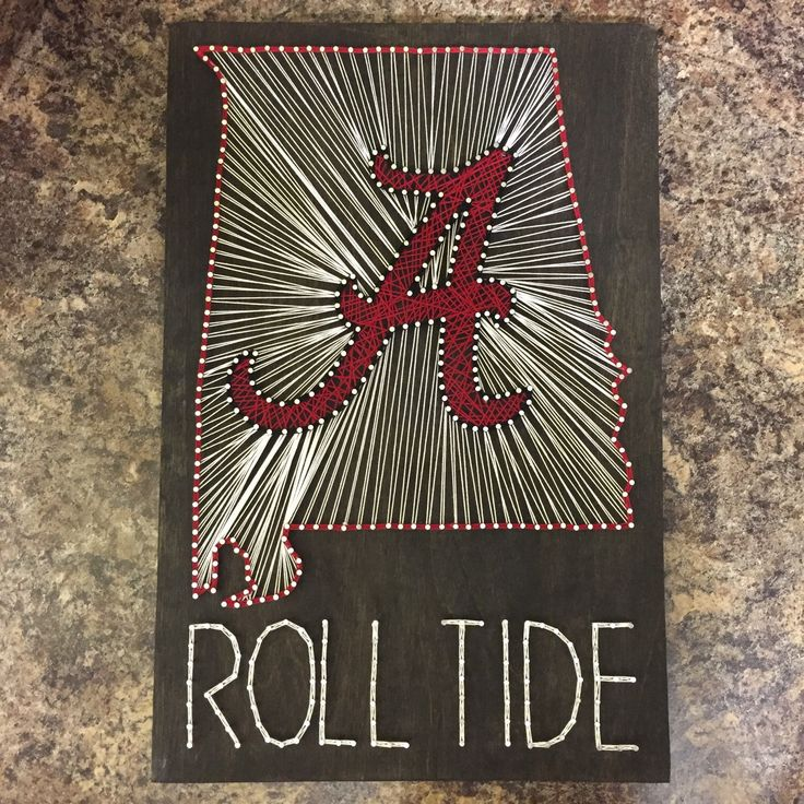 Alabama Roll Tide  MADE TO ORDER State + Team string art by SeasonOfSeeking on Etsy https://www.etsy.com/listing/249185556/made-to-order-state-team-string-art