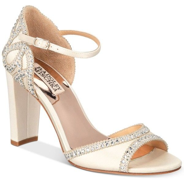 Badgley Mischka Kelly Embelished Block-Heel Evening Sandals (£180) ❤ liked on Polyvore featuring shoes, sandals, ivory satin, block heel ankle strap sandals, ivory dress sandals, evening sandals, rhinestone shoes and ivory sandals